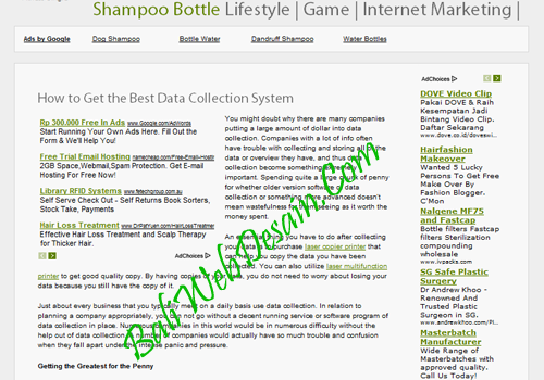 Web Adsense Shampoo Bottle